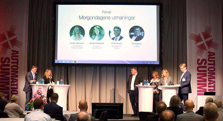 Panelen, med Ola Asplund IF Metall, Monica Oldenstedt VD IndustriQompetens AB, Annika Jederström projektledare Sveriges Ingenjörer, Ulf Troedsson VD Koncernchef Siemens.